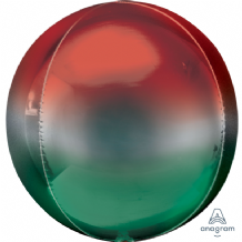 "Ombre Orbz Balloon - Red & Green Orbz (15"") 1pc"